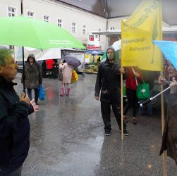 Demonstration im Regen für den Altoona-Park